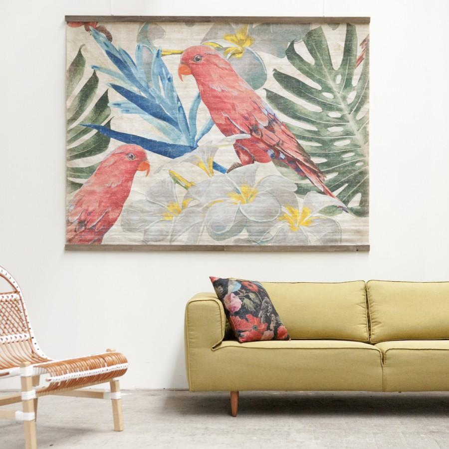PERROQUETS FLEURS (200x150cm)
